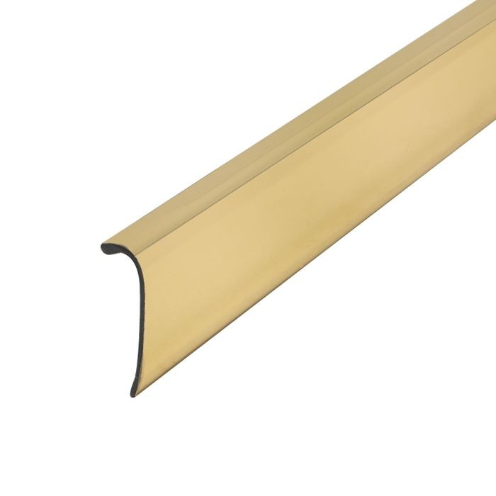 "1/4"" x 3/4"" Polished Brass ABS With Mylar Film Uneven Leg 90° Angle Moulding With Adhesive 12' Length"