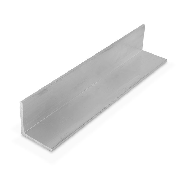 1-1/2in x 1-1/2in x 1/8in Thick | Mechanical Polished Finish Aluminum Even Leg | 90° Angle Moulding | 12ft Length