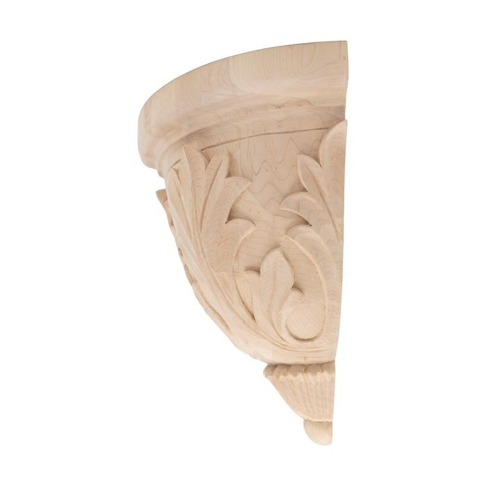10-1/2in W x 11-3/4in H | Hand Carved Unfinished | Solid North American Hardwood Hard Maple Corbel | RWC36 Series