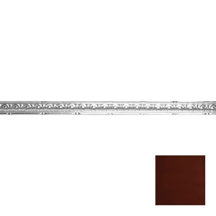 Tin Plated Stamped Steel Cornice | 2in H x 2in Proj | Antique Crimson Finish | 4ft Long