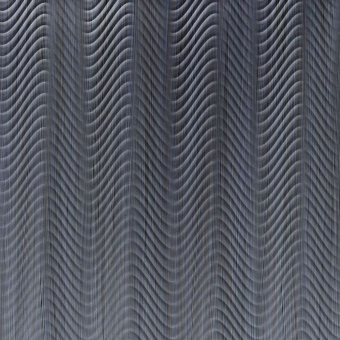 10' Wide x 4' Long Curves Pattern Steel Strata Finish Thermoplastic Flexlam Wall Panel