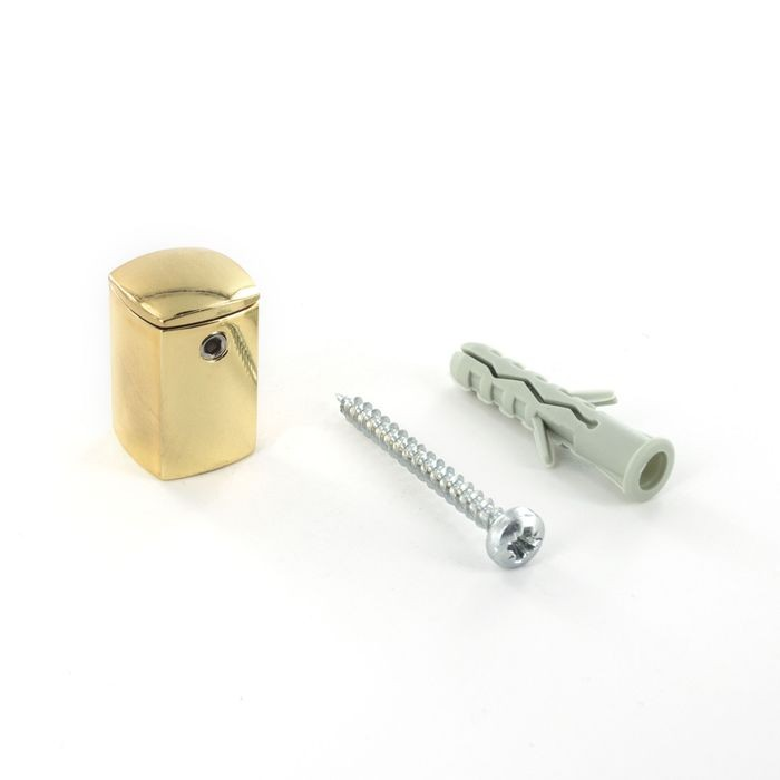 "9/16"" Diameter x 13/16"" Barrel Length Bright Brass Finish 4 Sided Shape Series Tamper Proof Standoff"