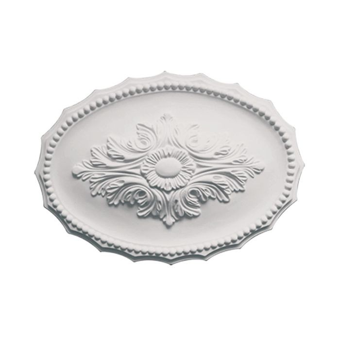 12in H x 17in W | Primed White Polyurethane | Decorative Ceiling Medallion