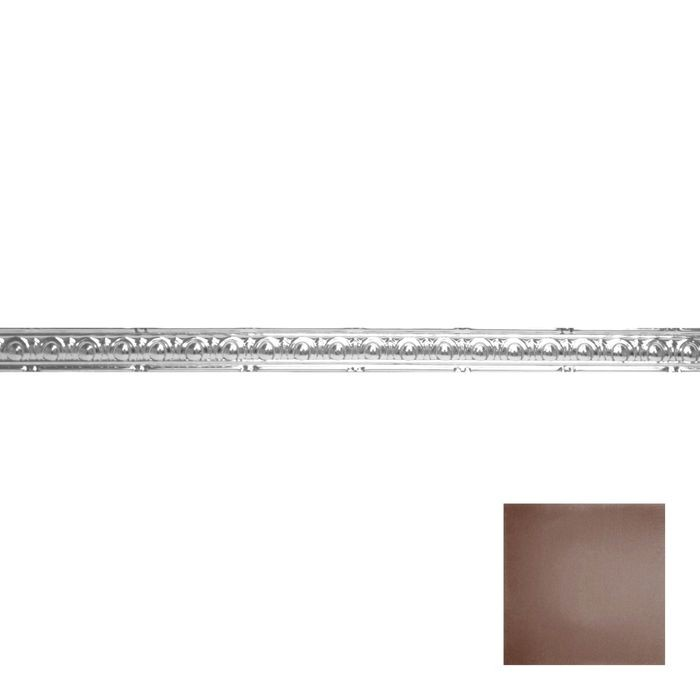 Tin Plated Stamped Steel Cornice | 2in H x 2in Proj | Marsala Pewter Finish | 4ft Long