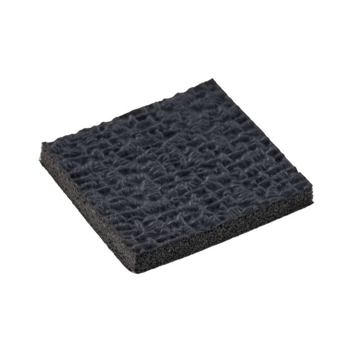 "1"" High x 1"" Wide x 1/8"" Thick Embossed Black Thermoplastic Rubber Square Non-Skid Pad"