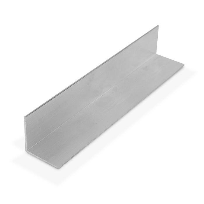 1-1/4in x 1-1/4in x 1/16in Thick | Mechanical Polished Finish Aluminum Even Leg | 90° Angle Moulding | 12ft Length