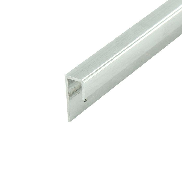 1/4in to 9/32in Mechanical Polished Finish | Aluminum Cap Moulding With Holes | 12ft Length