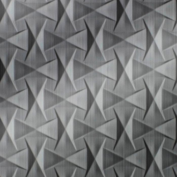 10' Wide x 4' Long Bowtie Pattern Brushed Stainless Finish Thermoplastic Flexlam Wall Panel