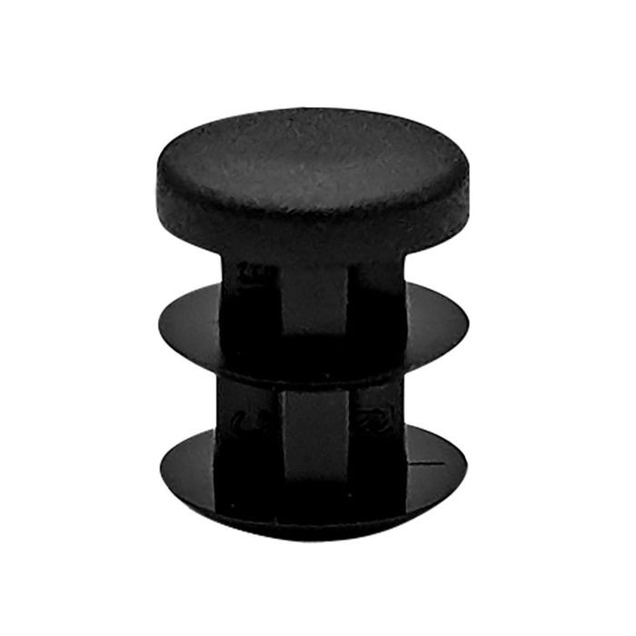 1/2in Dia | 14 - 23 Gauge | Black Matte Finish Textured Low Density Polyethylene | Plastic Universal Gauge Inside End Cap for Tubing