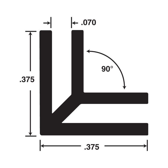 "1/16"" Black Styrene 90 Degree Outside Corner Channel 12' Length"