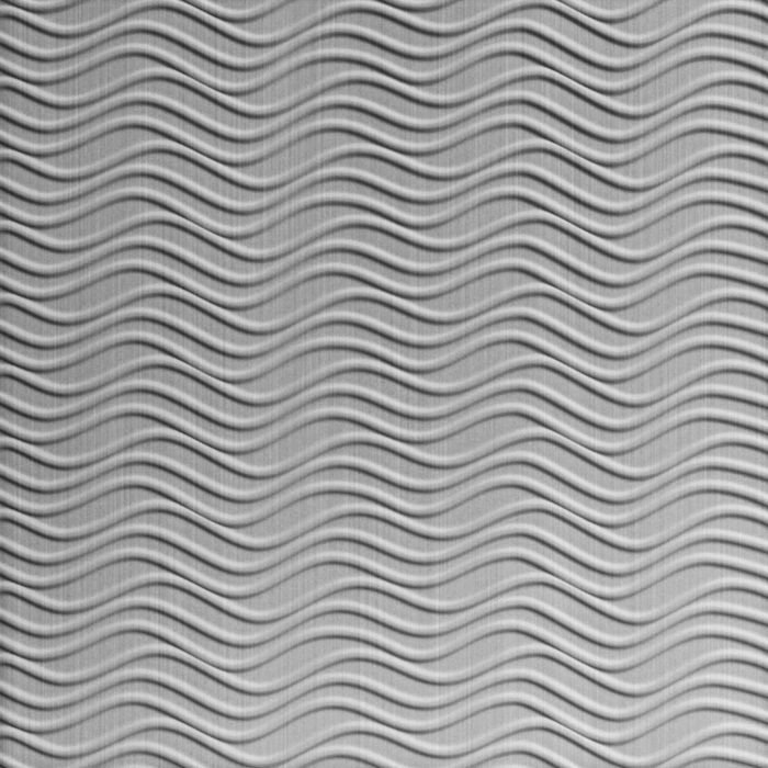 FlexLam 3D Wall Panel | 4ft W x 10ft H | Wavation Pattern | Brushed Aluminum Finish