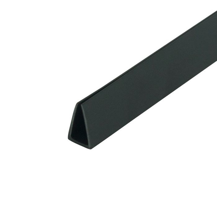 "1/4"" Black Rigid Styrene Clamp Moulding 8' Length"