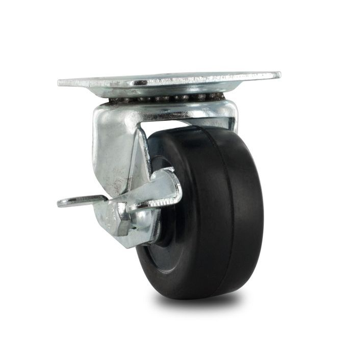 "2"" Diameter Black Swivel Import Series Industrial Caster With Brake, 1-7/8"" x 2-5/8"" Top Plate"