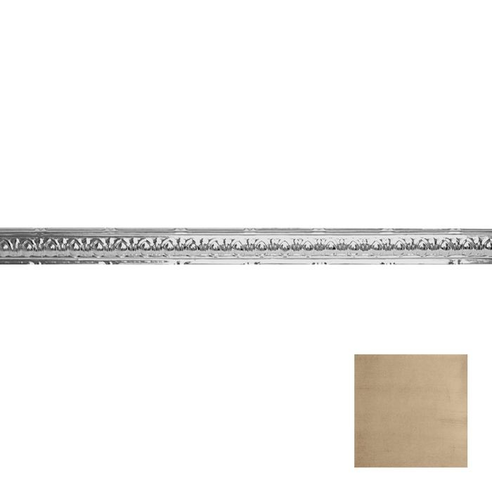 Tin Plated Stamped Steel Cornice | 2-1/2in H x 2-1/2in Proj | Monterey Finish | 4ft Long