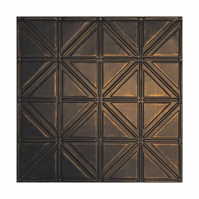 Tin Plated Stamped Steel Ceiling Tile | Nail Up/Glue Up Ceiling Tile | 2ft Sq | Antique Rustic Black Finish