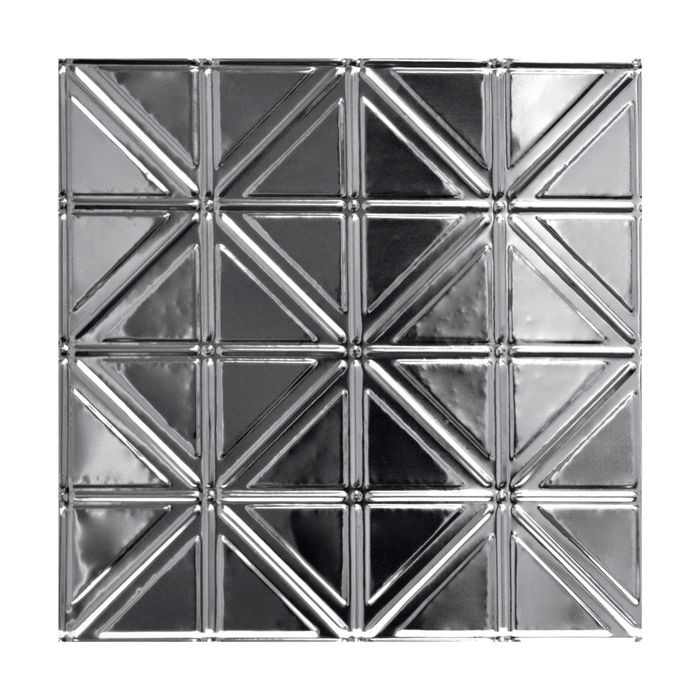 Tin Plated Stamped Steel Ceiling Tile | Lay In | 2ft Sq | Chrome Finish
