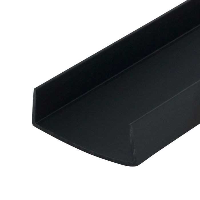 1-1/2in | Black Rigid Styrene | U Channel Moulding | 12ft Length