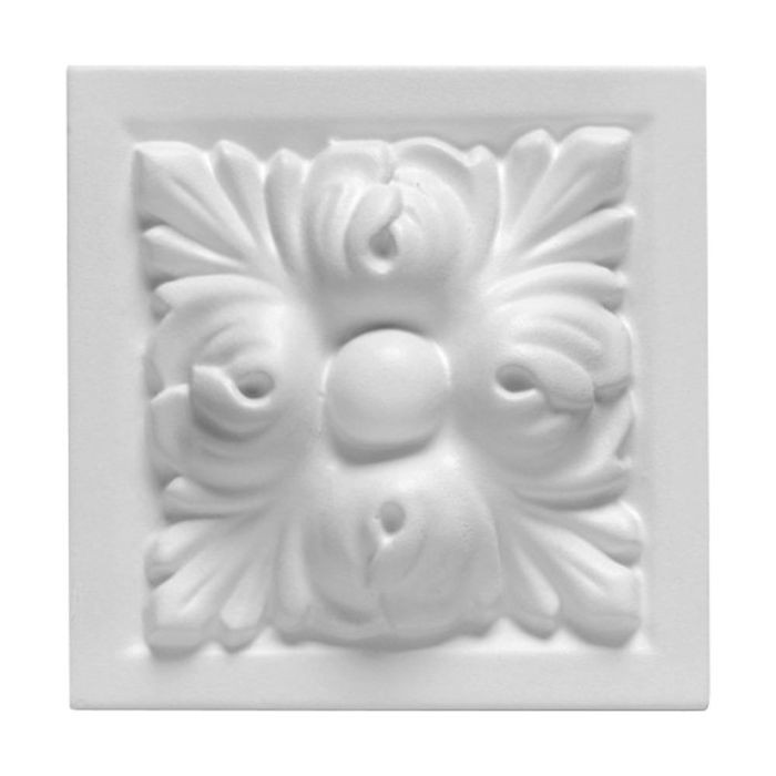"3-7/8"" Wide x 3-7/8"" High Primed White Polyurethane Madison Block Rosette Applique"