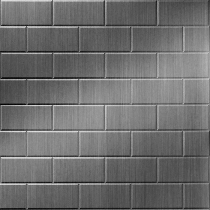 10' Wide x 4' Long Subway Tile Pattern Brushed Stainless Finish Thermoplastic Flexlam Wall Panel