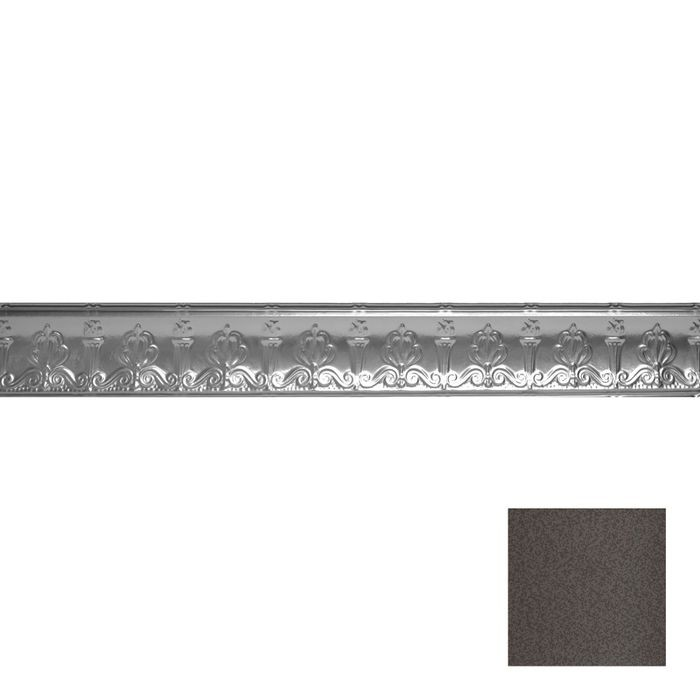 Tin Plated Stamped Steel Cornice | 4in H x 4in Proj | Silver Vein Finish | 4ft Long