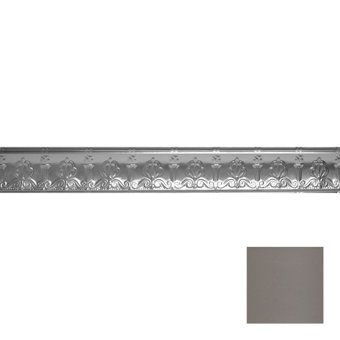 Tin Plated Stamped Steel Cornice | 4in H x 4in Proj | Silver Grey Finish | 4ft Long