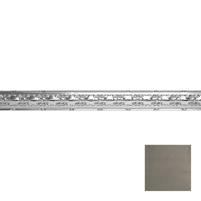 Tin Plated Stamped Steel Cornice | 4in H x4in Proj | Antique Pewter Finish | 4ft Long