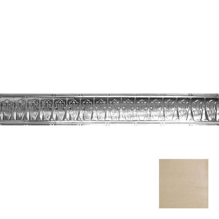 Tin Plated Stamped Steel Cornice | 4in H x 4in Proj | Antique White Gold Finish | 4ft Long
