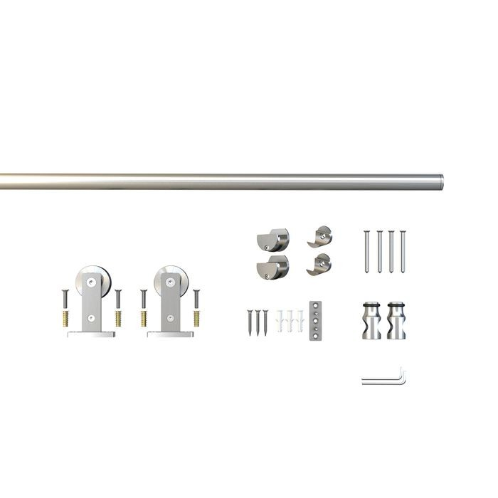 Sliding Barn Door Hardware Kits for Single Wood Doors Up to 39in W | Stainless Steel Finish | Routed | 78-3/4in Rail Length