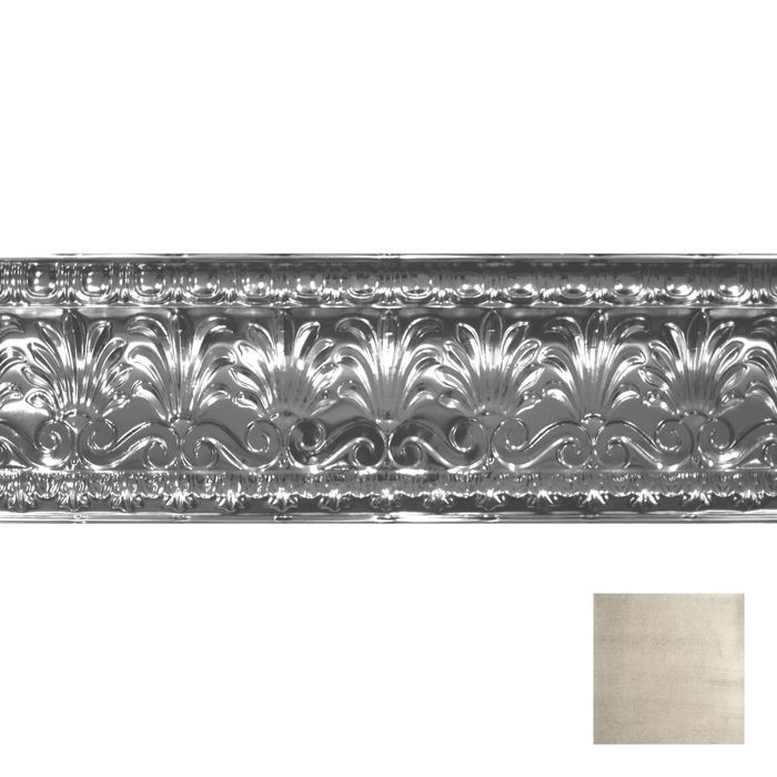 "10-1/2"" High x 10-1/2"" Projection Antique White Finish Decorative Stamped Steel Cornice Moulding 4' Length"