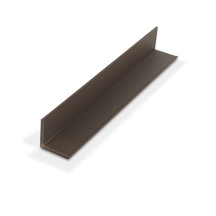 "1"" x 1"" x 7/64"" (.100"") Thick Brown Styrene Even Leg 90° Angle Moulding 12' Length"