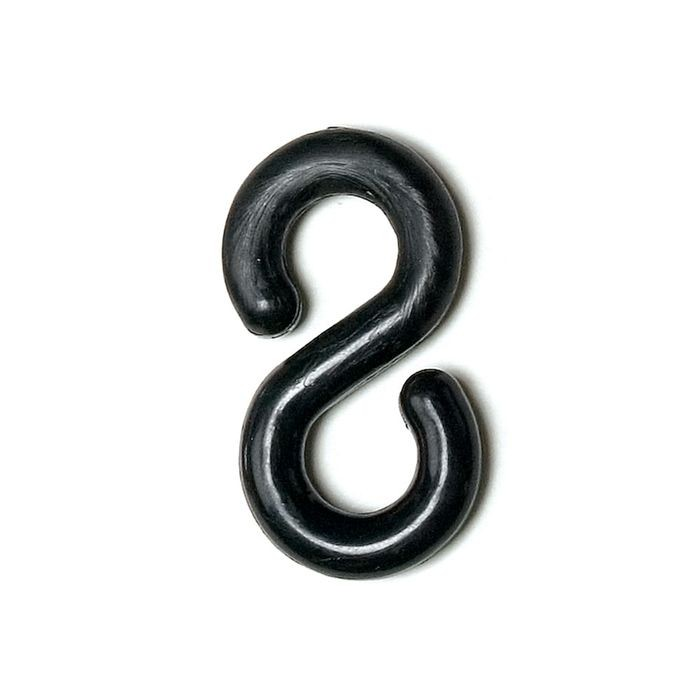 "1"" Black Plastic S-Hook"