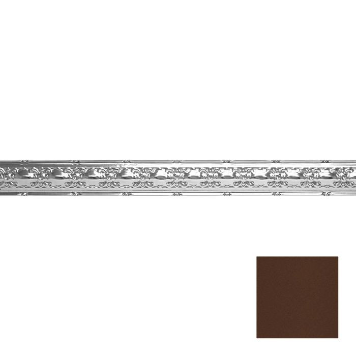 Tin Plated Stamped Steel Cornice | 4in H x4in Proj | Weathered Brown Finish | 4ft Long