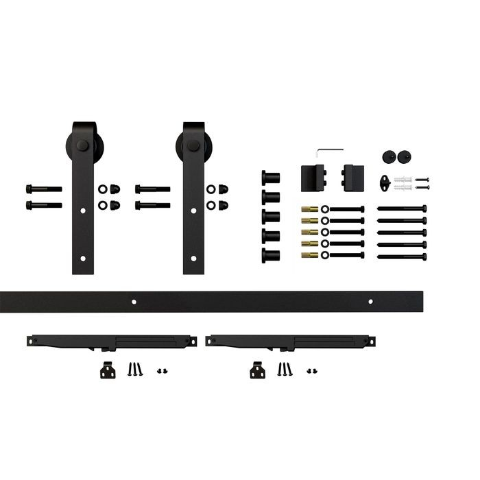 Sliding Barn Door Hardware Kits for Soft Close Single Wood Doors Up to 39in W | Black Powder Coated Finish | Soft Close | 78in Rail Length