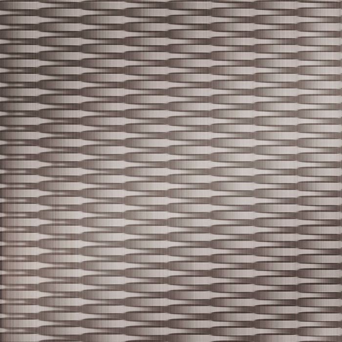 10' Wide x 4' Long Interlink Pattern Brushed Nickel Finish Thermoplastic Flexlam Wall Panel