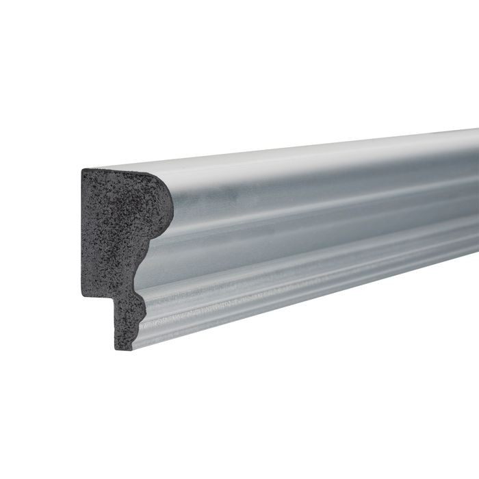 1-3/4in H x 1in Proj | Silver/Satin Chrome High Impact Polystyrene | Cap and Backband Moulding | 8ft Long