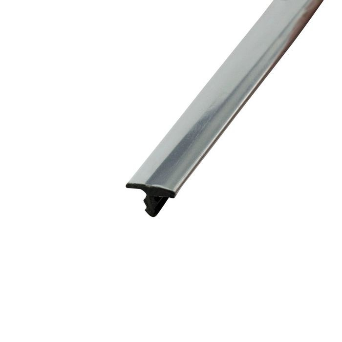 1/4in Polished Chrome Rigid ABS with Mylar Film | Straight Edge Metallic Tee Moulding | 12ft Length