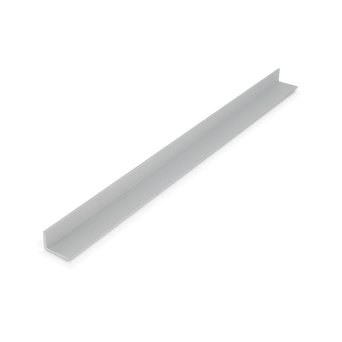1/2in x 3/4in x 1/16in Thick | Clear Anodized (Satin) Finish Aluminum Uneven Leg | 90° Angle Moulding | 12ft Length