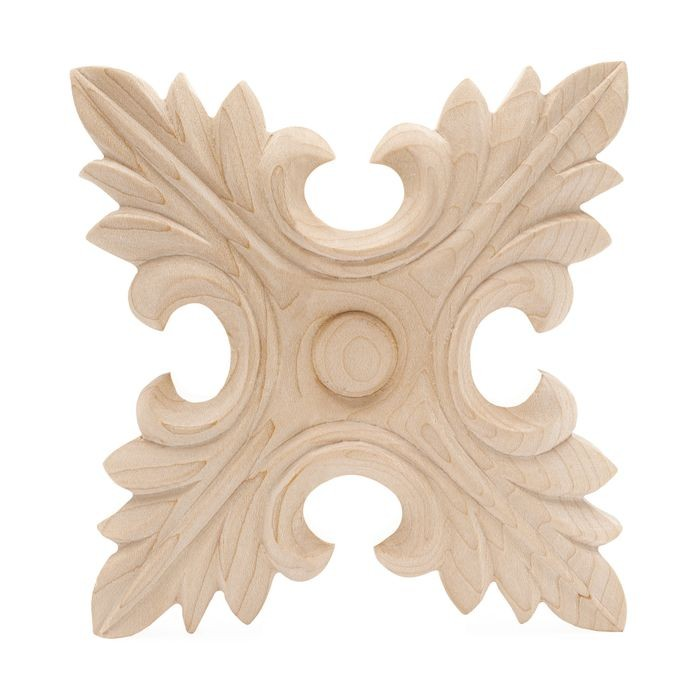 Hand Carved Unfinished | Solid North American Hardwood | Rosette Applique | RWC011 Series