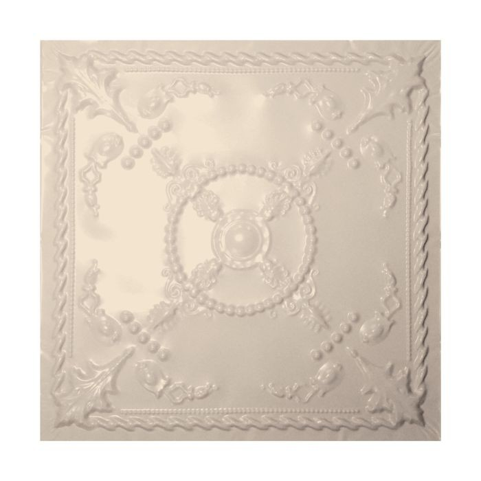 Tin Plated Stamped Steel Ceiling Tile | Lay In | 2ft Sq | WarmWhite Finish