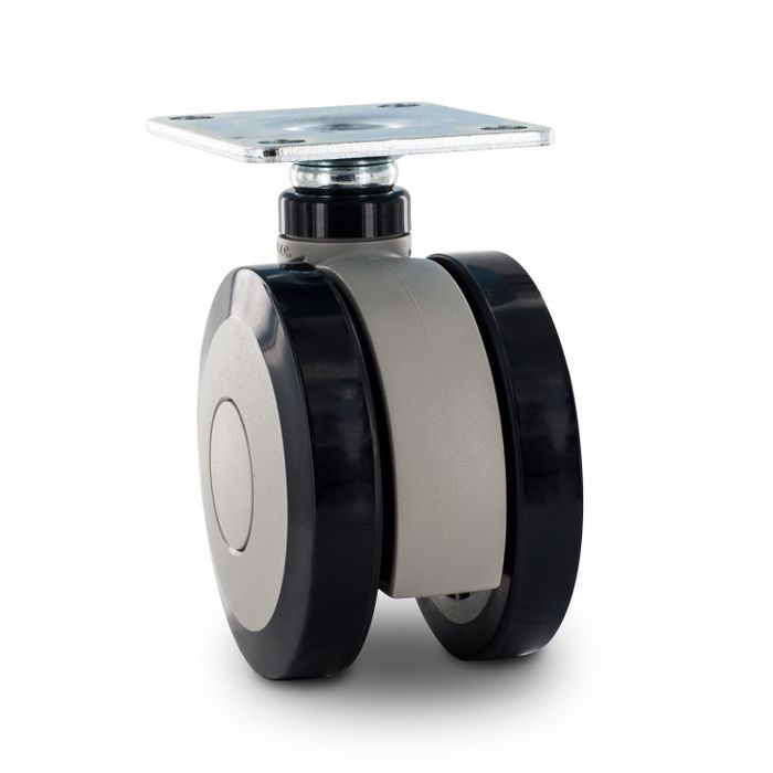 "3"" Diameter Two-Tone Gray Swivel Twin Wheel Series Institutional Caster With Square Top Plate 2-3/4"" x 2-5/16"""