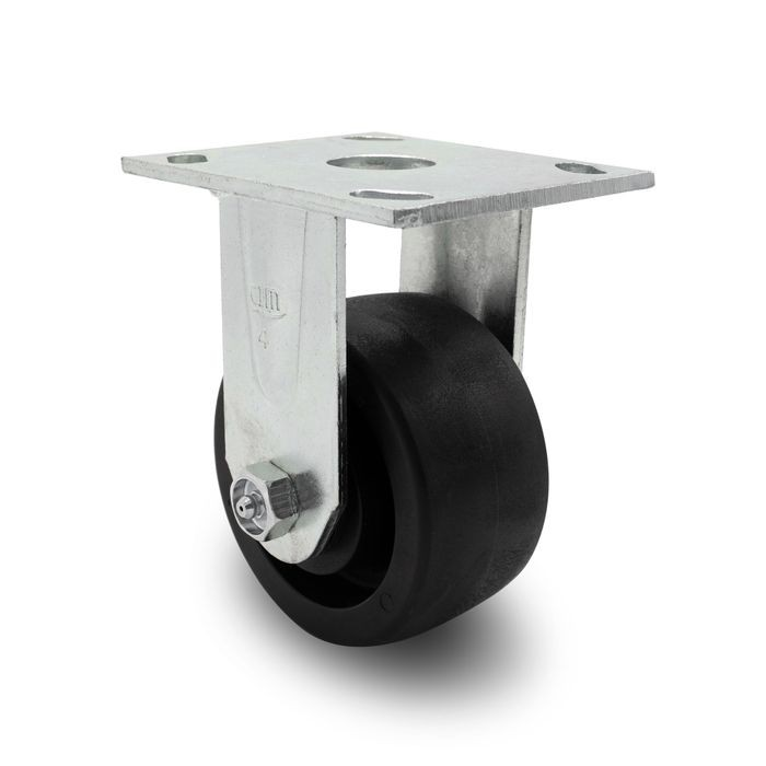 4in Dia | Black Rigid Heavy Duty Institutional Caster |  3-7/8in x 4-1/2in Top Plate
