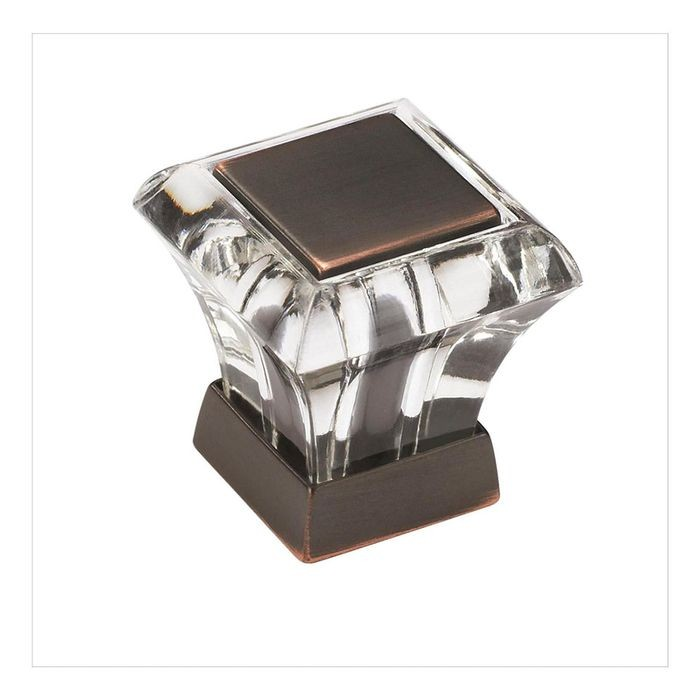 "1 1/16"" Square Acrylic Knob Clear/Oil Rubbed Bronze"
