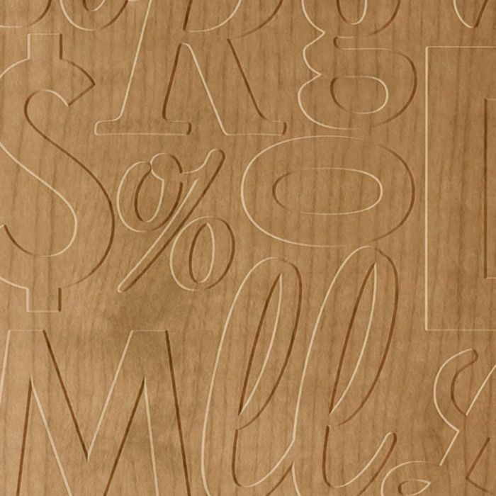FlexLam 3D Wall Panel | 4ft W x 10ft H | Alphabet Soup Pattern | Oregon Ash Finish