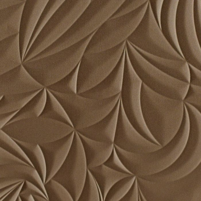 10' Wide x 4' Long Sculpted Petals Pattern Argent Bronze Finish Thermoplastic Flexlam Wall Panel