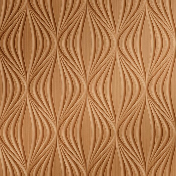 FlexLam 3D Wall Panel | 4ft W x 10ft H | Shallot Pattern | Brushed Copper Finish