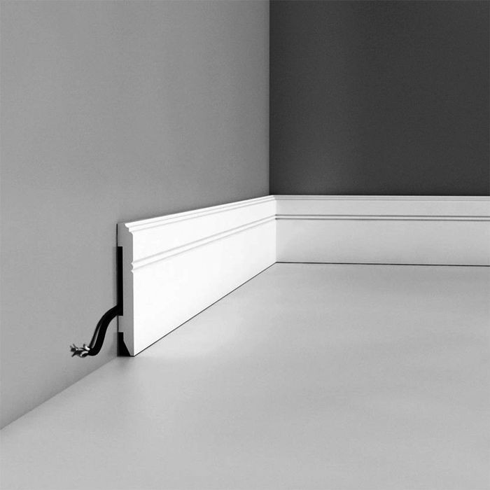 "Orac Decor | High Impact Polystyrene Baseboard Moulding | Primed White | 4-1/4in H x 78"" Long"