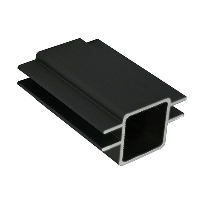 1in Sq Panel Connector Tubing | Black Anodized Aluminum | Double Channel Fits 1/4in Panels | 8ft Length