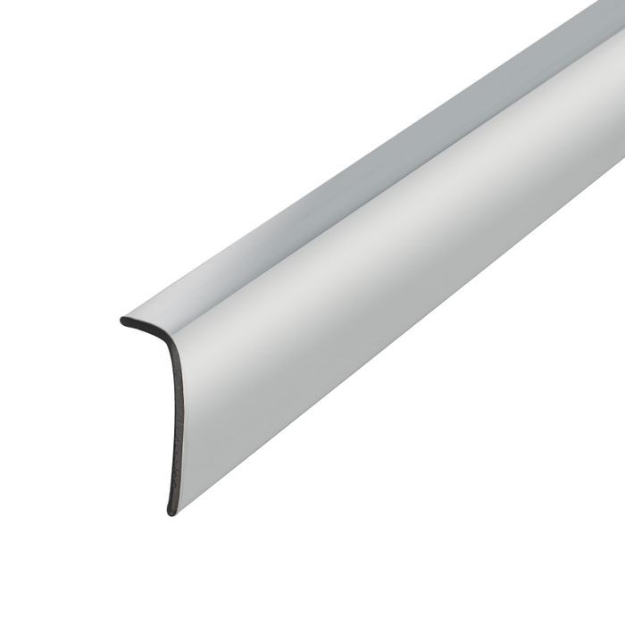 1/4in x 3/4in | Polished Chrome ABS With Mylar Film Uneven Leg | 90° Angle Moulding | 12ft Length