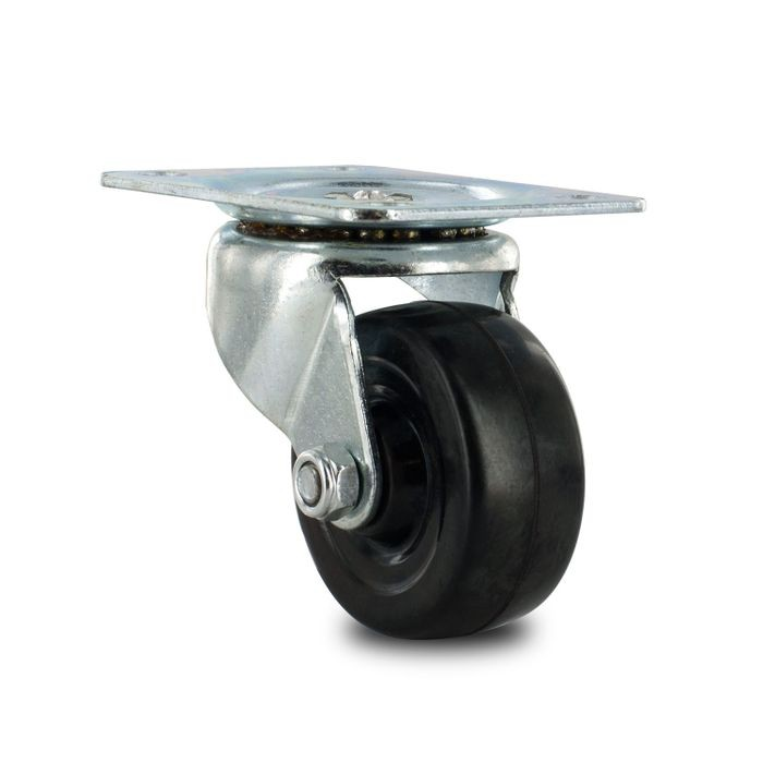 "2-1/2"" Diameter Black Swivel Import Series Industrial Caster With 2-3/4"" x 3-13/16"" Top Plate"