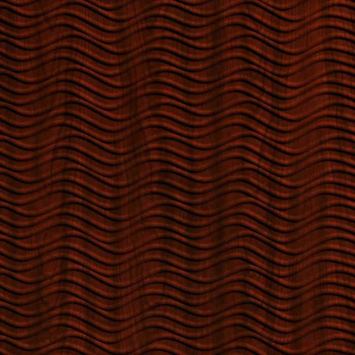 10' Wide x 4' Long Wavation Pattern Welsh Cherry Finish Thermoplastic Flexlam Wall Panel